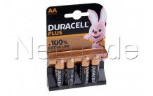 Duracell batteria  alcaline  aa  / mn1500 / lr06 plus 100% extra life  blister 4 pz - 12731
