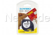 Dymo 12mm letratag plastic on pearl white tape labelprinter-tape  12mm x 4m - S0721610